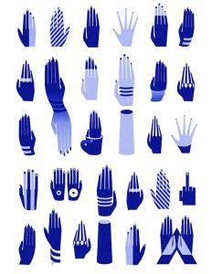 vector, graphics, illustration, art, carolyn ross, hands, blue, shapes