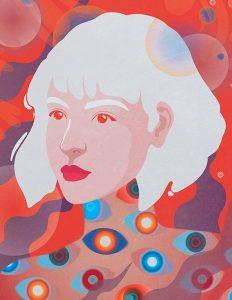 vector, graphics, illustration, art, carolyn ross, portrait, girl, orange, eyes