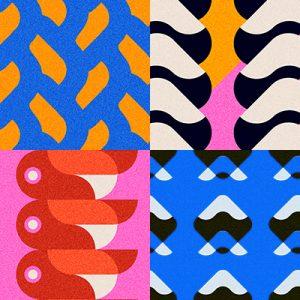 vector, graphics, illustration, art, carolyn ross, pattern, blue, pink, shapes