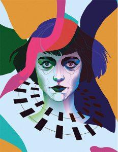 portrait, illustration, art, carolyn ross, girl, woman, colourful, alien, robot, vector, graphics