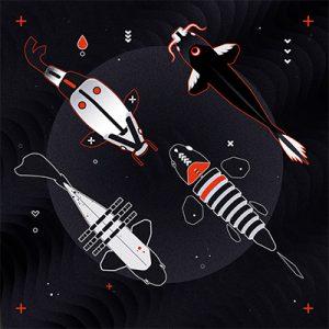 vector, graphics, illustration, art, carolyn ross, fish, shapes, black, red