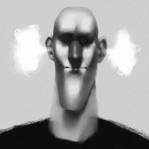 illustration, art, drawing, carolyn ross, character, black and white, greyscale, monotone, portrait, man, steam, angry, frustrated, chin