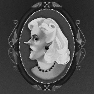 illustration, art, drawing, carolyn ross, character, black and white, greyscale, monotone, lady, portrait, locket, heirloom, posh